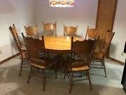 Antique Round Oak Claw Foot 60andrdquo Dining Table And Eight Chairs And Seven Leaves