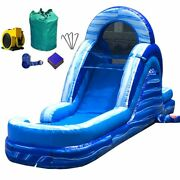 Commercial Water Slide Inflatable Blow Up 12ft Tall Blue Marble With Blower