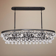 Restoration Hardware Style Linear Crystal Island Dining Chandelier Horchow New