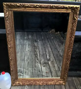 42x30 Vintage J.a. Olson Beveled Glass Permaflect Mirror Carved Gold Tone Frame