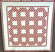 Patriotic Large Pa C 1890-1900 Red Ocean Waves Quilt Antique Double Sawtooth