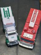 Lot Of 2 Hess Toy Trucks 2005 Fire Truck 1995 Toy Truck With Trailer. No Boxes