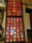 Vintage Collection Russian Military Medals Wwii And Police Badges 46 Framed