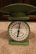 Vintage Green Metal Kitchen Counter American Family Scale 1906 Model 25 Pound