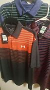 3-nwt 2021-under Armour Mens Polo Lg Golf Shirt-navy And Purple Playoff195