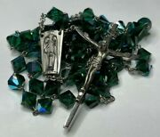 † Vintage The Holy Family Sterling Green Diamond Shaped Rosary Necklace 29 †