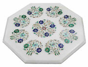 18'' White Marble Center Coffee Dining Table Top Inlay Mosaic Side Antique Kk1