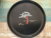 Couroc Of Monterey Cypress Tree Tray Plate Round Inlaid Wood And Stone