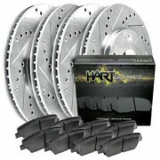 Fits 2000-2006 G20sentra Full Kit Hart Drilled Slotted Brake Rotors And Pads