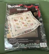 Bucilla 1994 'tis The Season Quilted Stamped Cross-stitch Quilt Wall Hanging New
