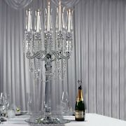 39 Clear 5 Arm Crystal Glass Candelabra Hurricane Taper Candle Holder Party