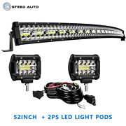 Curved 52inch Led Light Bar 1122w Combo+2x 4'' Pods Suv Boat +harness Offroad