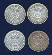 Germany Empire 1 Mark Silver Coins 1901-j 1904-d 1908-d And 1914-a Lot Of 3