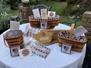Longaberger All American Collection Lot Of 18pc Placemats Napkins Baskets Tie-on