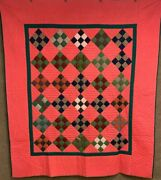 Outstanding Pa C 1880-90s Nine Patch Quilt Antique Crisp Never Used 92 X 80
