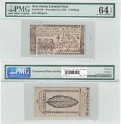 December 31, 1763 1 Shilling New Jersey Colonial Note Pmg Choice Unc-64 Epq