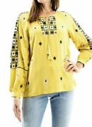 Solitaire Mustard Embroidered Peasant Blouse Nwt Large Boho Crochet Cut Out Top