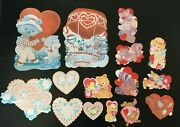 Lot Of 15 Vintage Valentine Paper Decorations Die Cut Some Flocked Cutouts