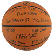 Lakers Magic Johnson Career Stat Signed Official Game Ball Basketball Bas