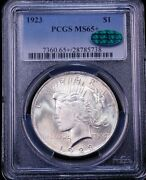 1923 Peace Silver Dollar Pcgs Ms65+ Cac Blast White Superb Frosty Luster Pq D27