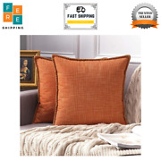 Pack Of 2 Decorative Fall Throw Pillow Covers Farmhouse 20and039and039x20and039and039 Orange