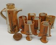 John Natale Pottery Brown Beige Clay Carafe With Cork Lid 7 Wine Cups Vintage