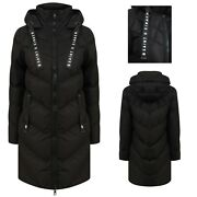 Womenand039s Ladies Long Quilted Padded Black Coat Hooded Puffer Jacket Zip Pockets