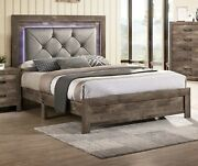 Rustic Style Natural Tone Est King Size Bed Led Hb Padded Tufted Wood Grain 1pc
