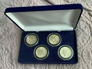 1921-1924 Peace Dollars 4 Coin Set In Display Box, Very High Grades Take A Look