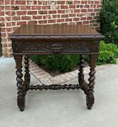 Antique French Desk Nightstand Entry Hall Writing Table Drawer Oak Barley Twist