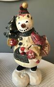 House Of Hatten Denise Calla Large 15 Snowman With Tree Figurine