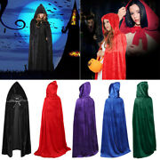 Halloween Hooded Velvet Cloak Medieval Witch Wiccan Cosplay Costume Party Robe