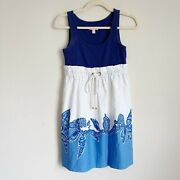 Lilly Pulitzer Navy White Skirt Dress Shell Tank Nautical Rope Tie Size Xs