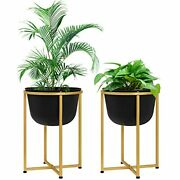 Large Floor Standing Planters 13 Inch Planter Pots With Gold Stands Set For I...