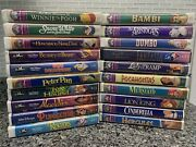 Lot Of 20 Walt Disney Vhs Masterpiece And Black Diamond Collection Rare 90andrsquos Orig.