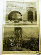 Brooklyn Bridge Archway Cable 1883 Antique Engraving Print Matted