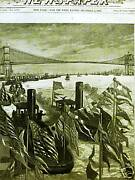 Brooklyn Bridge Evacuation Day East River 1883 Antique Engraving Print Matted