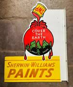 Sherwin Williams Paints Vintage Porcelain Double Sided Flange Sign 28 X 26 Inch