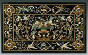 4and039x2.5and039 Black Marble Center Table Top Pietra Dura Room Home Decor Antique Inlay
