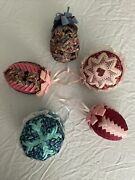 Victorian Style Hand Made Quilted Fabric Lace Cross Stitch Christmas Ornaments 5