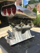Sbc Chevy Weiand Aluminum Tunnel Ram Intake Manifold Dual Quad Holley And Scoop