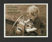 Vintage Style Postcard Pioneer Chainsaw And Child Anderson Chainsaw Advertising