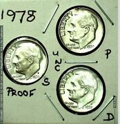 1978 P, D And S Roosevelt Dime Set - Bu P And D - Proof S - Free Shipping