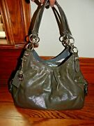 Large Coach Mia Gray Maggie Pleated Patent Leather Tote Shoulder Purse Bag 15734