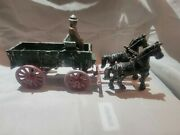 Vintage Stanley Toys Cast Iron Horse Drawn Farm Wagon With Man Green/red/blk
