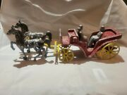 Vintage Stanley Toys Cast Iron Aluminum Horse Drawn Carriage Red Wagon