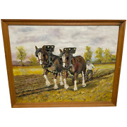 Shropshire Farmer With Shire Horse Pulling Plough In Fields Oil Painting Signed