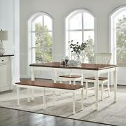 Crosley Shelby 4 Piece Dining Set White - Table, 2 Chairs, Bench