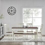 Crosley Shelby 6 Piece Dining Set White - Table, 4 Chairs, Bench