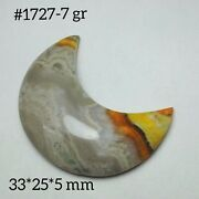 1x Crescent Moon Hand Carving On Bumble Bee Jasper For Wrap Wire Pendant 1727